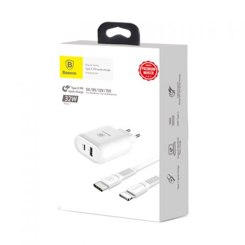Baseus Travel Charger Bojure series Type-C PD + U quick charge 32W White (TZTUN-BJ02)