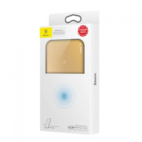 Baseus Wireless Charger Pad with Desktop holder + Type-C Cable 10W Gold (WXHSD-0V)